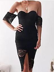 baratos -Mulheres Para Noite Básico / Moda de Rua Algodão Skinny Tubinho Vestido - Renda / Fenda Ombro a Ombro Altura dos Joelhos / Verão