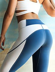 billiga -Dam Lappverk Yoga byxor - Blå, Grå sporter Elastan Hög midja Cykling Tights / Leggings Pilates, Motion & Fitness, Löpning Sportkläder Lättvikt, Andningsfunktion, Snabb tork Elastisk / Butt Lift
