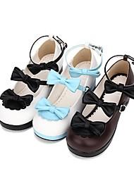 abordables -Doux / Lolita Classique / Traditionnelle Princesse Talon Bottier Chaussures Dentelle consue 4.5 cm CM Noir / Marron / Bleu Pour PU