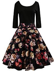 baratos -Mulheres Vintage / Básico balanço Vestido Floral Altura dos Joelhos