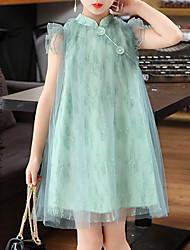Недорогие -Дети Девочки Винтаж / Шинуазери (китайский стиль) Однотонный Без рукавов Платье Зеленый 130