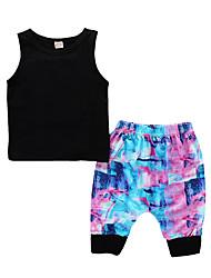 Недорогие -Дети (1-4 лет) Мальчики Классический Повседневные Однотонный Контрастных цветов Без рукавов Обычный Обычная Хлопок Набор одежды Черный