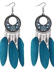abordables -Mujer Largo Pendientes colgantes - Pluma Vintage, Étnico, Moda Negro / Arco Iris / Verde Para Fiesta de Noche / Cumpleaños