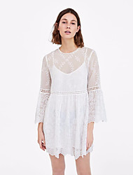 cheap -Women's Basic / Chinoiserie Flare Sleeve A Line Dress - Solid Colored Lace / Mesh