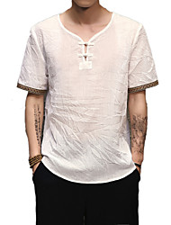 cheap -Men's Street chic Linen T-shirt - Solid Colored V Neck / Short Sleeve / Long