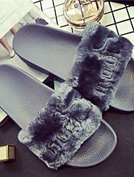 baratos -Mulheres Sapatos Camurça Primavera / Verão Conforto Chinelos e flip-flops Sem Salto Preto / Cinzento / Rosa claro