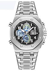 Недорогие -Муж. Спортивные часы Кварцевый 30 m Защита от влаги Календарь С двумя часовыми поясами сплав Группа Аналого-цифровые На каждый день Серебристый металл -  / Один год / Хронометр / Фосфоресцирующий