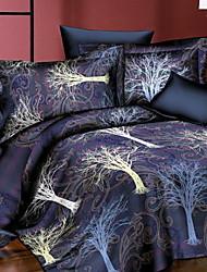 Недорогие -комплекты пододеяльников 3d полиэстер / полиамид с реактивной печатью Комплекты постельного белья из 4 шт / 4шт (1 пододеяльник, 1 плоский лист, 2 шамана) полный