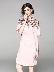 baratos -Mulheres Vintage Evasê Vestido - Bordado, Floral Acima do Joelho