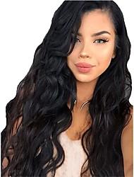 abordables -Pelucas sintéticas / Peluca Lace Front Sintéticas Rizado Corte a capas Pelo sintético Con Baby Hair / Suave / Resistente al Calor Negro Peluca Mujer Larga Encaje Frontal / Peluca afroamericana / Sí