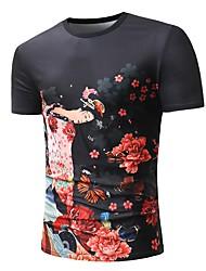 baratos -Homens Camiseta Estampado, Floral / Estampa Colorida / Retrato Borboleta / Margarida