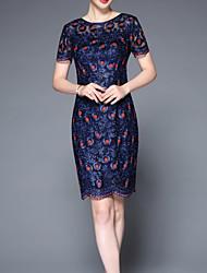 levne -Dámské Čínské vzory Bodycon Šaty - Jednobarevné / Květinový Délka ke kolenům