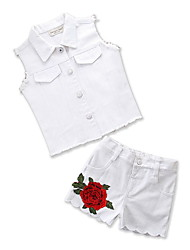 cheap -Baby Girls' Floral Sleeveless Clothing Set