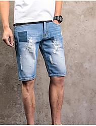 abordables -Hombre Tallas Grandes Algodón Vaqueros Pantalones - Un Color