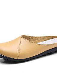 Недорогие -Жен. Обувь Кожа Лето Удобная обувь Башмаки и босоножки На плоской подошве Кофейный / Красный / Светло-синий