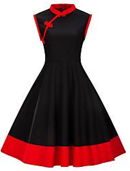 baratos -Mulheres Vintage / Básico Bainha / Rodado Vestido - Laço, Estampa Colorida Altura dos Joelhos Preto e Vermelho