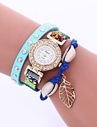 Недорогие -Жен. Часы-браслет Китайский Повседневные часы / Милый / Имитация Алмазный PU Группа Листья / Богемные Черный / Белый / Синий