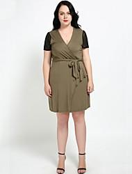 hesapli -Kadın's Büyük Bedenler Tatil Vintage Temel A Şekilli Kombinezon Elbise - Zıt Renkli, Örümcek Ağı Bağcık V Yaka Diz üstü