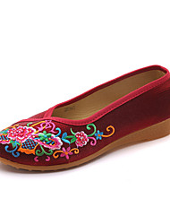 Недорогие -Жен. Обувь Полотно Весна лето Удобная обувь На плокой подошве Туфли на танкетке Заостренный носок Черный / Лиловый / Красный