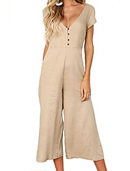 cheap -women's going out jumpsuit - solid colored deep v
