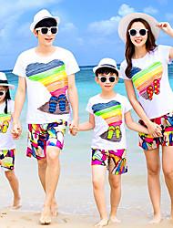Недорогие -Семейный вид Классический Пляж Радужный С короткими рукавами Набор одежды Цвет радуги