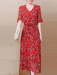 baratos -Mulheres Moda de Rua / Sofisticado Manga Alargamento Reto Vestido Floral / Xadrez Médio