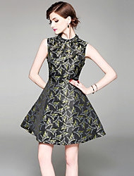 cheap -SHIHUATANG Women's Street chic / Sophisticated A Line Dress - Floral Beaded