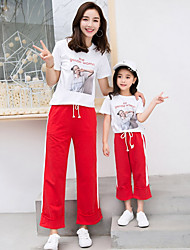 cheap -Mommy and Me Basic Letter Short Sleeve Clothing Set