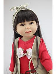 Недорогие -NPKCOLLECTION NPK DOLL Модная кукла Девушка из провинции 18 дюймовый Полный силикон для тела Винил - как живой Подарок Искусственная имплантация Коричневые глаза Детские Девочки Игрушки Подарок
