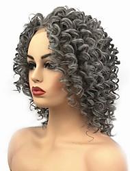 Недорогие -Синтетические кружевные передние парики Кудрявый Средняя часть Искусственные волосы Парик в афро-американском стиле / Для темнокожих женщин Темно-серый Парик Жен. Средняя длина Лента спереди Серый