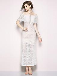 baratos -Mulheres Moda de Rua / Sofisticado Bainha Vestido - Renda / Frufru, Sólido Longo