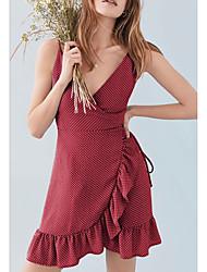 cheap -Women's Going out Slim Sheath Dress High Waist Deep V