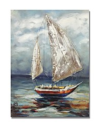 cheap -STYLEDECOR Modern Hand Painted Abstract A Sailing Boat in The Sea Oil Painting on Canvas for Wall Art