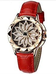 cheap -SHIFENMEI Women's Wrist Watch Japanese Water Resistant / Water Proof / Creative / New Design Genuine Leather Band Luxury / Fashion Black / White / Red / Imitation Diamond