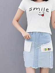 abordables -Mujer Básico Corte Bodycon Faldas Un Color Blanco y Negro