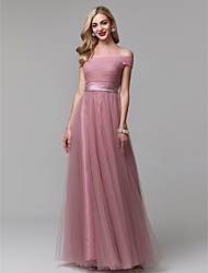 cheap -A-Line Off Shoulder Floor Length Tulle Prom / Formal Evening Dress with Sash / Ribbon / Ruched by TS Couture®