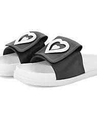 cheap -Women's Shoes Cowhide Summer Comfort Slippers & Flip-Flops Flat Heel Black / Red