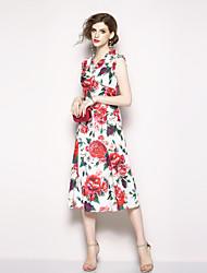 cheap -Seduction Gold House Women's Street chic Shift Dress - Floral Print