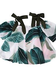 Недорогие -Дети Девочки Цветочный принт С короткими рукавами Блуза