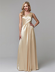 cheap -A-Line One Shoulder Floor Length Stretch Satin Prom / Formal Evening Dress with Beading / Pleats by TS Couture®
