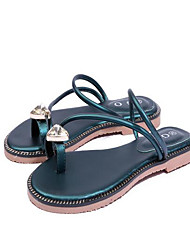 Недорогие -Жен. Обувь Полиуретан Лето Обувь через палец Сандалии На плоской подошве Открытый мыс Стразы Черный / Зеленый
