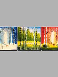 Недорогие -С картинкой Роликовые холсты / Отпечатки на холсте - Животные / Времена года Modern