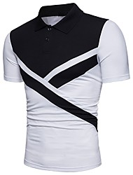 cheap -Men's Basic Polo - Solid Colored / Color Block Black & White, Patchwork