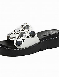 cheap -Women's Shoes Faux Leather Summer Slingback Slippers & Flip-Flops Creepers White / Black / Pink