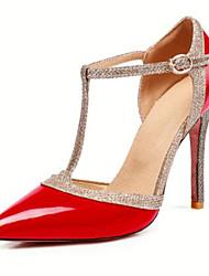 baratos -Mulheres Sapatos Couro Ecológico Primavera Verão Tira em T Saltos Salto Agulha Dedo Apontado Presilha Prateado / Vermelho / Nú / Festas & Noite