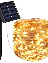 cheap -KWB 4x5M String Lights 200 LEDs 1Set Mounting Bracket Warm White / White / Blue Solar / Waterproof / Decorative Solar Powered 1set