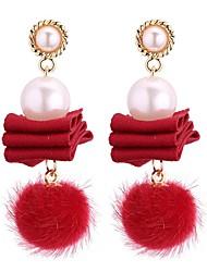 baratos -Mulheres Pérola Brincos Compridos - Imitação de Pérola Vintage, Fashion Cinzento / Vermelho / Azul Real Para Festa / Noite / Aniversário