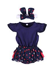 cheap -2pcs Baby Girls' Patchwork Short sleeves Romper