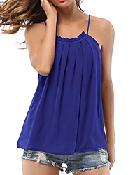 cheap -women's beach tank top - solid colored strap