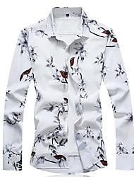 economico -camicia da uomo - collo floreale a fiori animalier